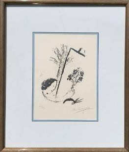 Marc Chagall Original Lithograph Bouquet with Hand HS #