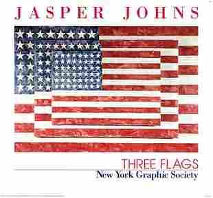 Jasper Johns Three Flags FRAMED Offset Litho