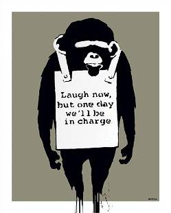 Banksy - Laugh Now Framed Offset Lithograph