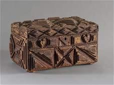 Folk Art Tramp Art lidded box