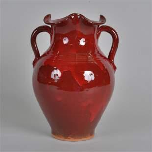 ML Owens 2 Handled Fluted Vase