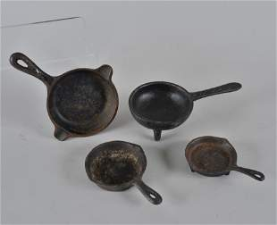 Miniature Advertising Cast Iron Pans group of 4