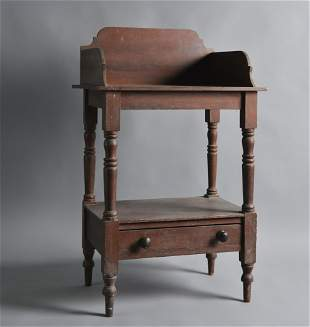 Shenandoah Valley Red Painted Washstand w/ drawer