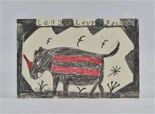 RA Miller drawing on board (rhino)