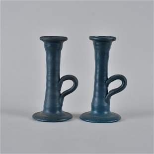 Auman Pottery Candle Sticks (blue pair)
