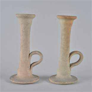 Auman Pottery Candle Sticks (white pair)