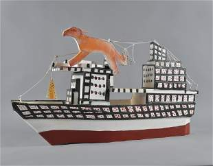 Herbert Walters Folk Art Ship w/ Animal