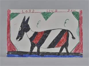 RA Miller mule drawing on board