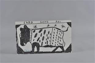 RA Miller drawing Cow or dog