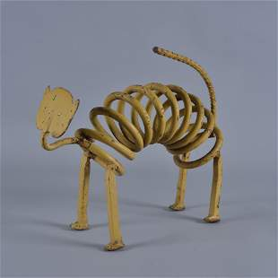 Mike Hudson Folk Art Iron Works Cat - yellow paint