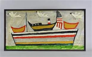Aaron BirnBaum folk art painting on bord