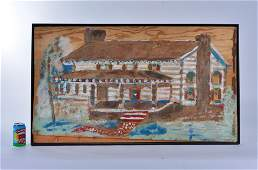 """Jimmy Lee Sudduth """"log cabin"""" (signed top right)"""