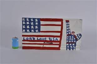 RA Miller Folk Art (flag and statue on tin)