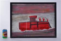 Hubert Walters Painting (Train/Fire Truck)