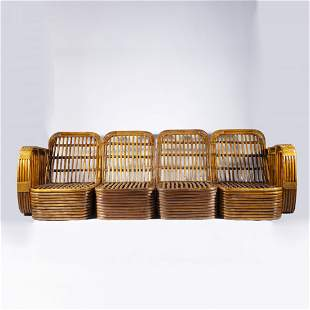 Paul Frankl Rattan Sofa and Chair