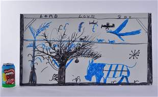 RA Miller Marker on Tin (cow, tree, planes)