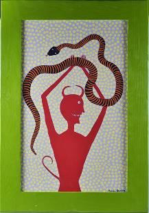 Marvin Bailey Folk Art Painting (devil with snake)