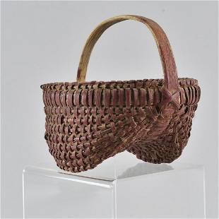 Antique Painted Oak Split Basket