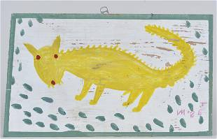 Mose Tolliver Folk Art Painting (yellow creature)