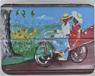 Leonard Jones Painting on Tin