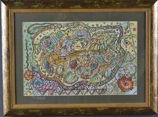 Alpha Andrews folk art drawing