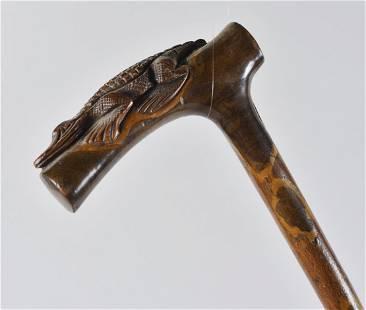 Folk Art Carved Alligator Cane