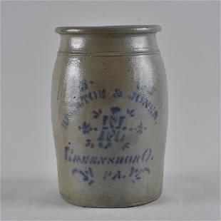 Hamilton and Jones 1/2 gallon stoneware jar