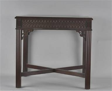 Chinese Chippendale Stretcher Base Table