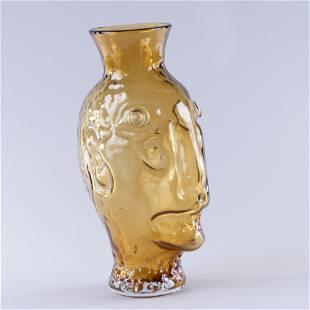 Blenko Glass Face Jug