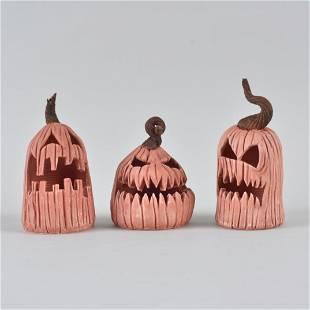 G Mathis Halloween Folk Pottery Pumpkins