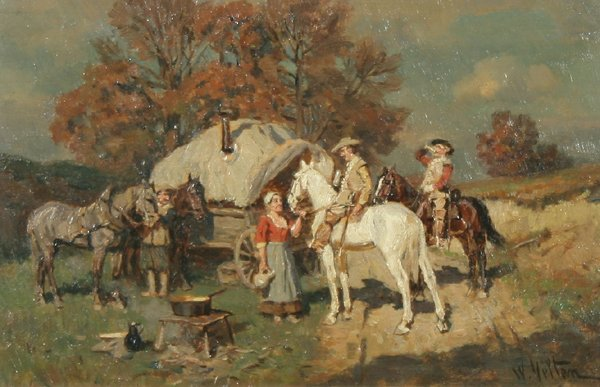 1: W. VELTEN B1847 Russian Oil Painting Horseback