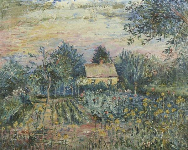 9: BURLIUK B1882 Russian Oil Painting Summer Garden