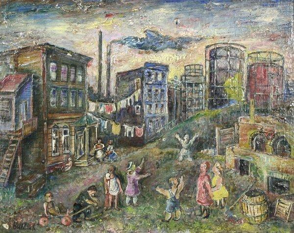 10: BURLIUK B1882 Russian Oil Painting Bronx Scene
