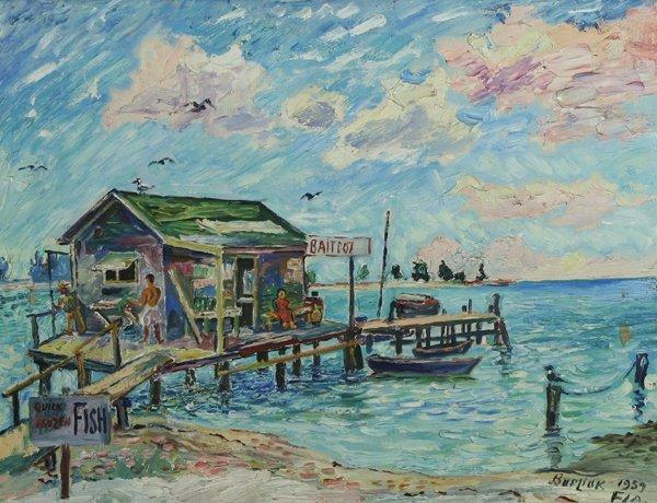 11: BURLIUK B1882 Russian Oil Painting Florida Fishing