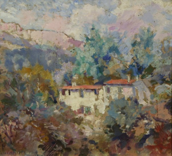 16: KOROVIN B1861 Russian Oil Painting French Houses