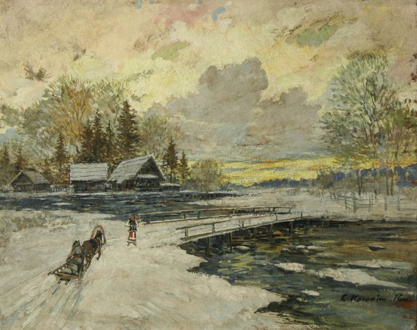 3: KOROVIN (RUSSIAN) Winter Village Oil Painting