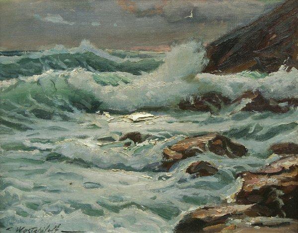 17: WESTCHILOFF (RUSSIAN) Seascape Oil Painting