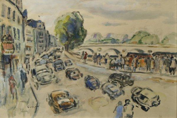 18A: GUSSOW (RUSSIAN-AMERICAN) Paris Blvd Watercolor