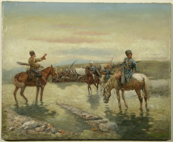 1001: ROUSSEAU (FRENCH), Cossacks Oil Painting