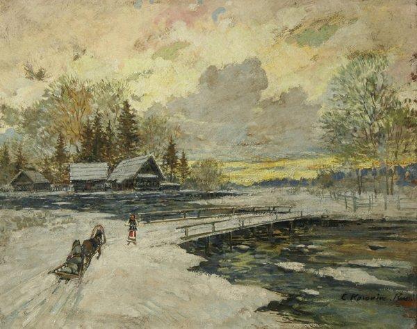 1002: KOROVIN (RUSSIAN) Winter Village Oil Painting