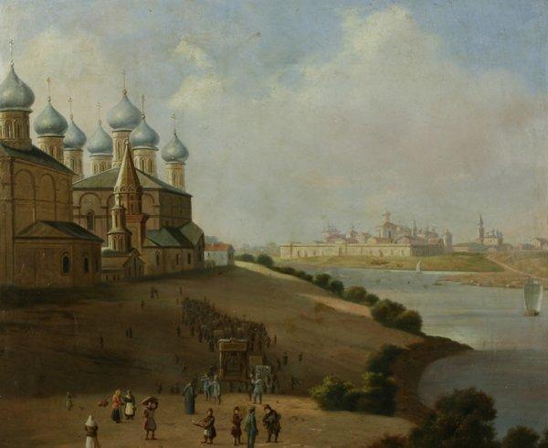1006: CHERNETSOV (ATTR) (RUSSIAN) Yroslavl Oil Painting