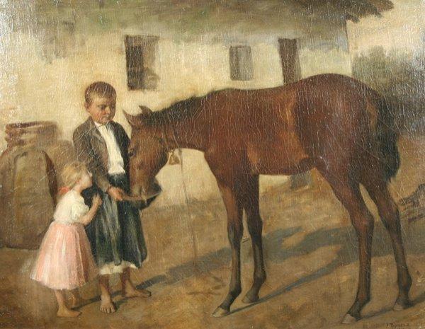 1007: TRUTOWSKIJ (UKRANIAN) Children & Pony oil paintin