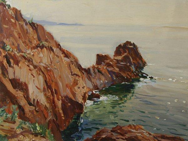 1015: WESTCHILOFF (RUSSIAN) Seal Harbor, Maine Oil  Pai