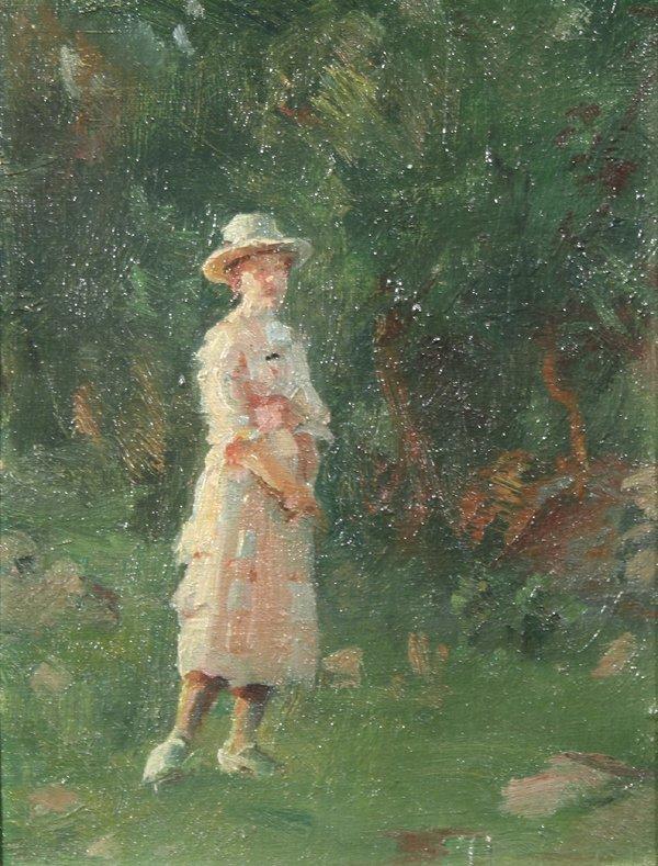 1017: ROMANOVSKY (RUSSIAN-AMERICAN) Woman in Field Oil