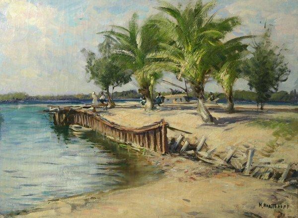 1019: HARITONOFF (RUSSIAN-AM) Beach Scene Oil Painting