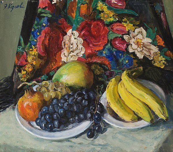 1021: KOZLOV (RUSSIAN) Fruits Russian Shawl Oil Paintin