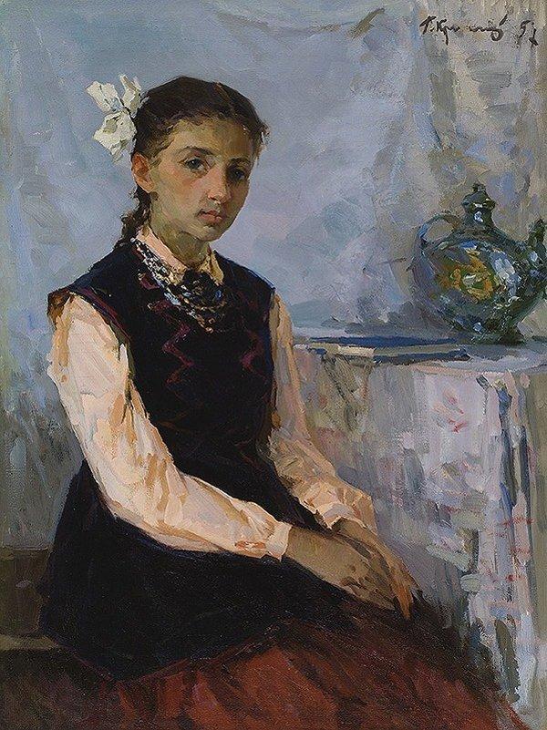 1022: KRIZHEVSKY (UKRAINIAN) Daughter's Portrait Oil  P