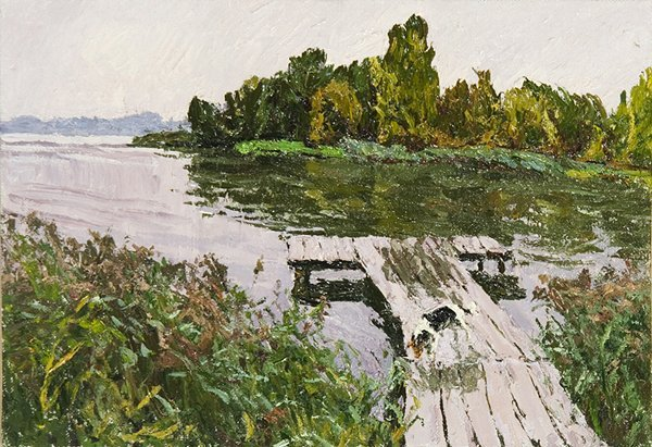1024: SAFONOV (RUSSIAN) At the Pier Oil Painting