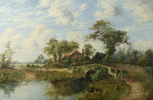 1036: CLARK (BRITISH) English Countryside Oil Painting