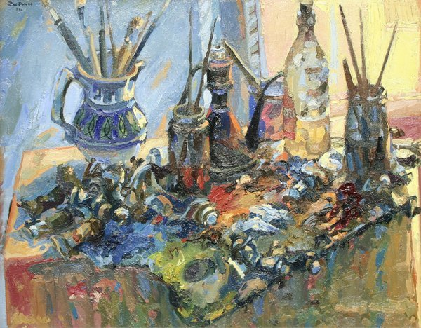 1093: ZUPAN (AMERICAN) Artist's Studio Oil Painting